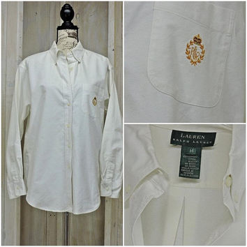 Vintage Ralph Lauren oxford shirt / 80s white button down cotton shirt / size L 14 / Classic / Preppy / Retro / Oversized