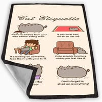 Pusheen cat cat etiquette Blanket for Kids Blanket, Fleece Blanket Cute and Awesome Blanket for your bedding, Blanket fleece **