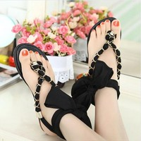 Flat Sandals with Ribbon and Chain
