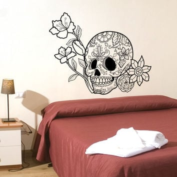 Vinyl Wall Decal Sticker Flowers and Sugar Skull #1179