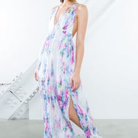 Watercolor Strappy Maxi Dress