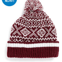 BURGUNDY FAIRISLE PATTERN BEANIE - Beanies - Hats - Shoes and Accessories