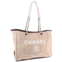 AUTHENTIC CHANEL ChainShoulder Deauville MM Tote Bag beige canvas Women