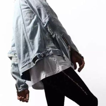 Rinsed Denim Pants Zippers Jeans [10368012547]