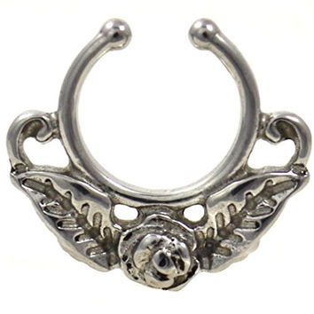 Surgical Steel Rose Flower Septum Hanger Non-Piercing Clip On Jewelry (3 Colors Available) (Steel)
