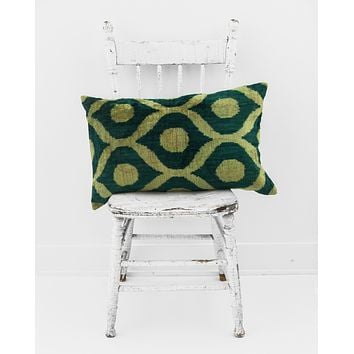 "16"" x 24"" Silk Velvet Ikat Pillow, Emerald Green"