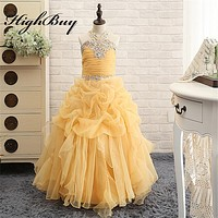 HighBuy 2017 Gorgeous Halter Beaded Princess Pink Ball Gown Girls Pageant Dress Girls Formal Party Dress Pink Flower Girl Dress