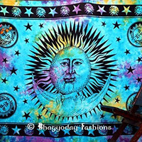 Psychedelic Celestial Sun Moon Tie Dye Tapestry, Stars Tapestry, Indian Mandala Tapestry, Wall Hanging Tapestry, Twin Dorm Bedding Bedspread,Hippie Tapestries,Boho Tapestry Throw. Indian Dorm Tapestries,Decorative Table Cloth 54x86 Inch.