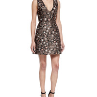 Pacey Sleeveless Structured A-Line Dress, Gold/Multicolor, Size: