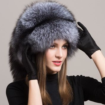 Valpeak Women Winter Fur Hat Caps Real Integral Fox Fur Hats with Russian Mongolian Womens Fur Hats