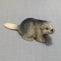 Miniature Ceramic Beaver River Animal Cute Little Tiny Small Brown Beige Grey Figurine Statue Decoration Collectible Hand Painted Display