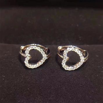 18KT White Gold Women Circle Earrings Certified I/S1 Natural Diamond Brinco Fashion Heart