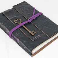 Embossed Black Leather Journal with Heart Key Bookmark