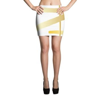 Gold Banded Mini Skirt