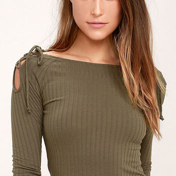 Build Me Up Olive Green Long Sleeve Top
