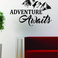 Adventure Awaits Version 3 Mountains Quote Travel Design Decal Sticker Wall Vinyl Art Decor Home