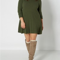 Plus Green Ribbed Knit Swing Dress