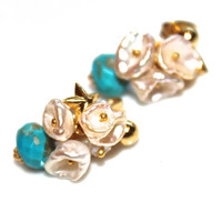 Sleeping Beauty Turquoise Earrings Pearl Cluster Gemstone Moonstone Bali Gold Vermeil Star Earrings Handcrafted Jewelry