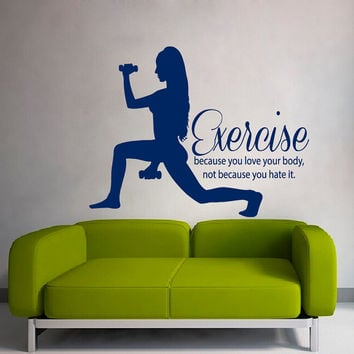 Fitness Wall Decals Sport Woman With Dumbbells Wall Words Exercise Love Your Body Gym Decor Home Vinyl Decal Sticker Interior Design kk763