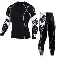 Long Sleeve Rash Guard Complete Graphic Compression Shorts Multi-use Fitness MMA Tops Shirts Men Suits