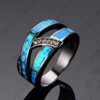 New 2016 summer Crossed Style Ocean Blue Fashion Jewelry Size 5/6/7/8/9 14KT Black Gold Filled Women Wedding Rings anel RB0260