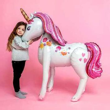 Stand Unicorn Foil Balloons 3D Horse Air Globos Birthday Party Decorations Kids Toys Wedding Decor Unicorn Party Supplies