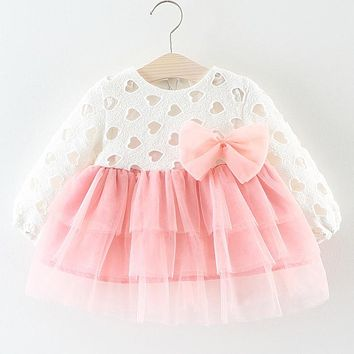 New Autumn Baby Clothes For Baby Girls Dress Hollow Long-sleeves Bow Decoration Splicing Net Yarn Dress Party Princess Dress
