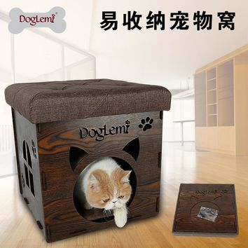 Multi-functional Creative Stool Chair Pet Nest Wood Family Sitting Cats House Dog Bed Pet Puppy Warming Winter Nest Pet Supplies