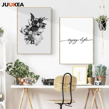Nordic Poster & Prints Enjoy Life Flower Girl Portrait Wall Art Canvas Painting Pictures For Living Room Scandinavian Home Decor