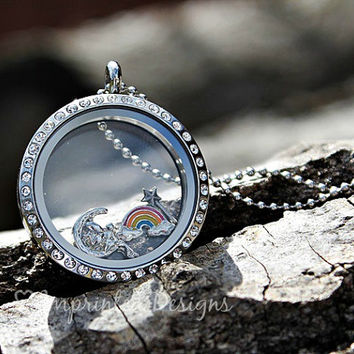 Rainbow Floating Charm - Locket Rainbow Charm - Memory Locket Charm