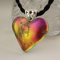 Dichroic Fused Glass Pendant - Heart Pendant - Dichroic Glass - Fused Glass - Mosaic - Heart Necklace X8332
