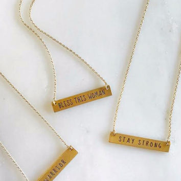 Golden Encouragement Message Necklaces
