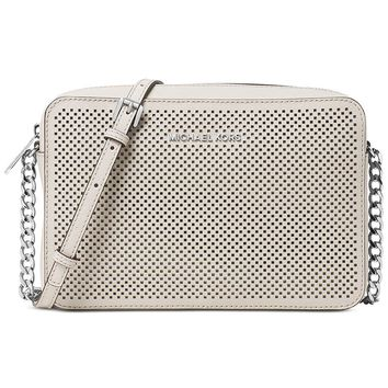 Michael Kors Women's Jet Set Crossbody Leather Bag, Cement Perforated, Large