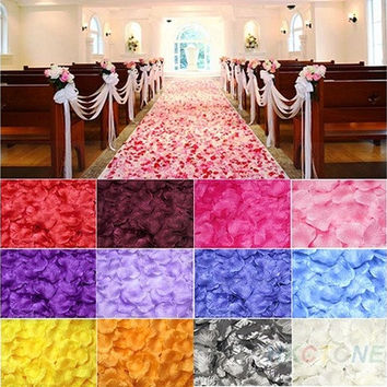 100pcs Silk Rose Flower Petals Leaves Wedding Table Decorations [7982881671]