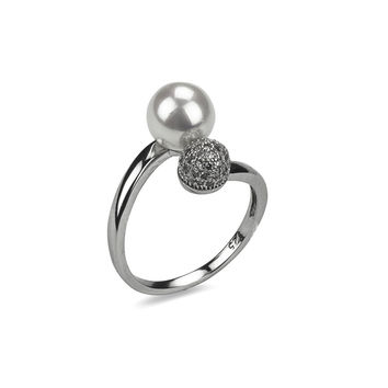 Double Pearl CZ Combo Ring
