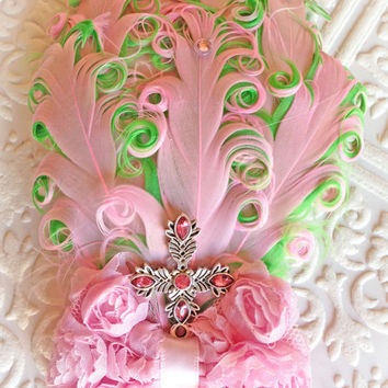 Cross Headband- Pink and Lime Fancy Feather Vintage Style Little Girl Headband of Great Gatsby, Flapper Girl Style, Photography Prop