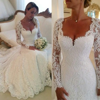 Lace New Elegant Full Wedding Dresses Long Sleeves Chapel Train Bridal Dresses Custom Made Vestido De Noiva Applique