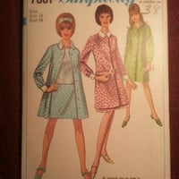 Uncut 1960's Simplicity Sewing Pattern, 7001! Size 14 Bust 34 Medium/Women's/Misses/Unlined Coats/Collared Jackets/Hip-Hugger Straight Skir