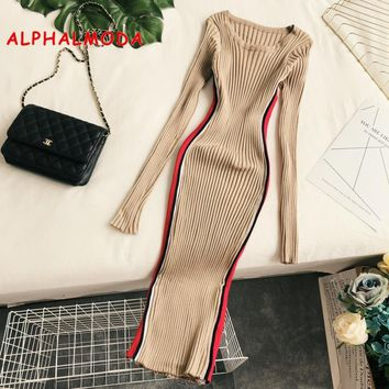 ALPHALMODA Autumn Winter Dress Women Long Sleeved Striped Stylish Rib Vestido 2018 Tunic Dress Fashion Clothing