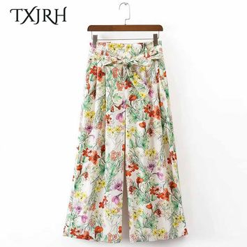 TXJRH Vintage Floral Leaf Print Wide Leg Pants Sashes Tied Bow Pockets Women High Waist Loose Trousers Casual Pants K17-04-10