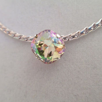 Swarovski necklace, single stone, designer inspired, luminesse green, bridal, bridesmaid, unique, high sparkle, great price #178