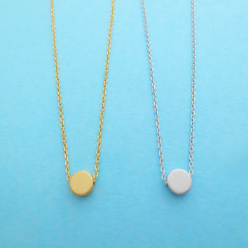 Small, Dot, Necklace, Gold/ Silver, Necklace, Dot, Small, Karma, Tiny, Circle, Jewelry, Karma, Necklace