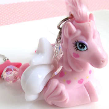 Pink Retro Vintage Style My Little Pony Kawaii Fairykei Gyaru Harajuku Sweet Lolita MLP White Ribbon Bow Pink Stars Crystal Beads Necklace