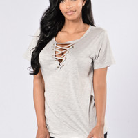 Give You A Chance Top - Heather Grey