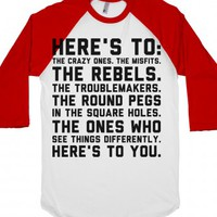 Here's to The Crazy Ones-Unisex White/Red T-Shirt