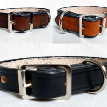 "Leather dog collar, 1/2"" wide, small dog collar, tan dog collar, black dog collar, brown dog collar, handmade collar, colorful"