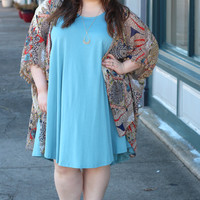 Swing Into Me Tank Dress  in Seafoam {Curvy}