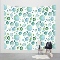 Bubbles Watercolor Wall Tapestry by Doucette Designs