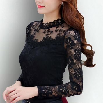 Hot Selling High Fashion Tops Lace Long Sleeve O-Neck Sexy Slim Shirt