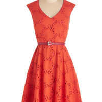 ModCloth Mid-length Cap Sleeves A-line Efflorescent Entrance Dress